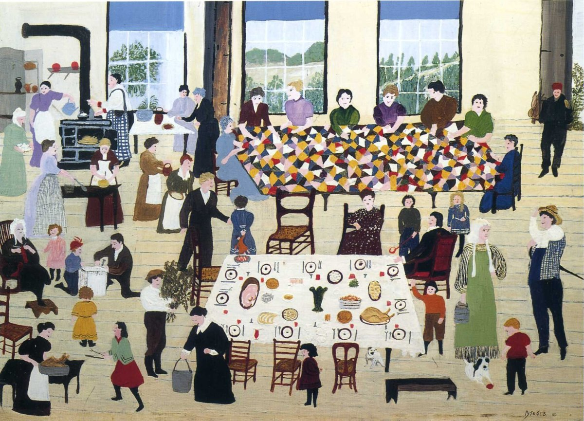 """""""The Quilting Bee,"""" (1940-1950) by Anna Mary Robertson Moses (Grandma Moses)."""