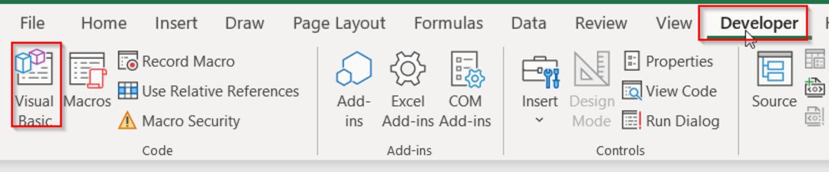 Visual Basic in Developer tab