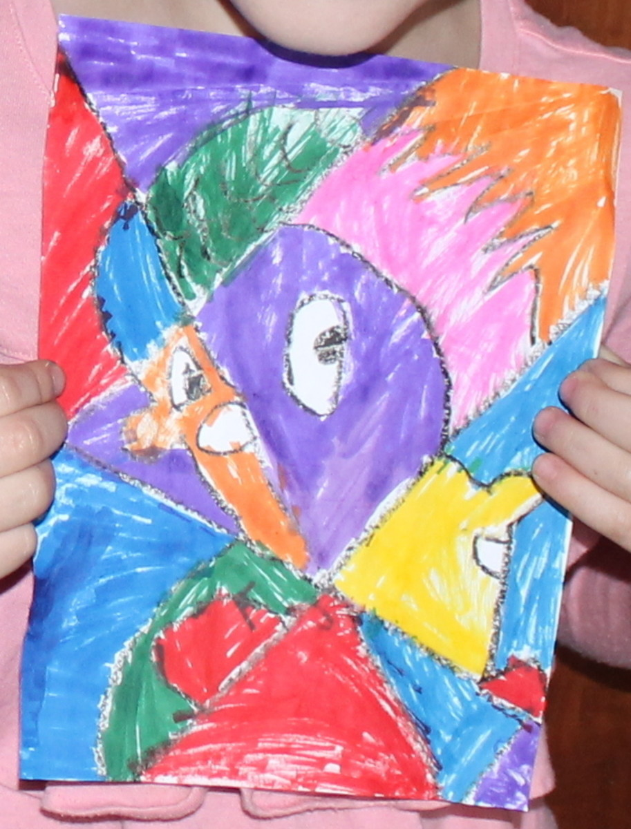 Picasso-inspired portrait completed by a 5 year old