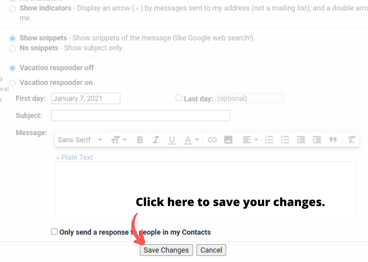 """Click """"Save Changes"""" to complete the signature creation process."""