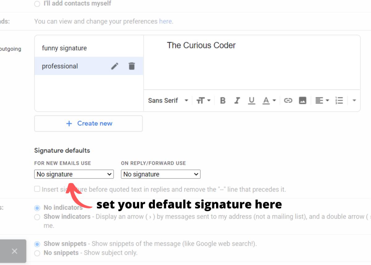 Click the dropdown menu to select your default signature.