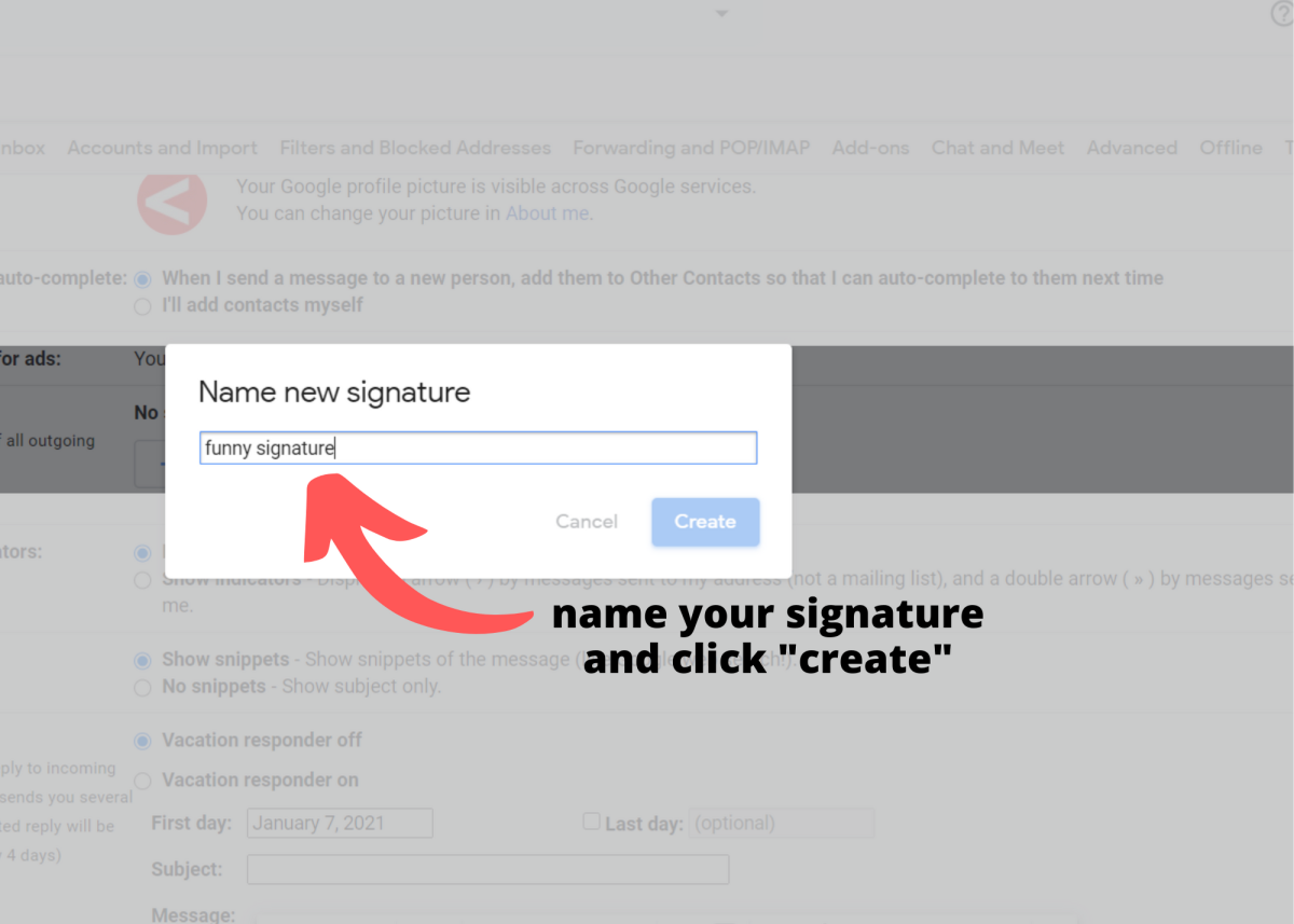 """Name your signature and click """"Create."""""""