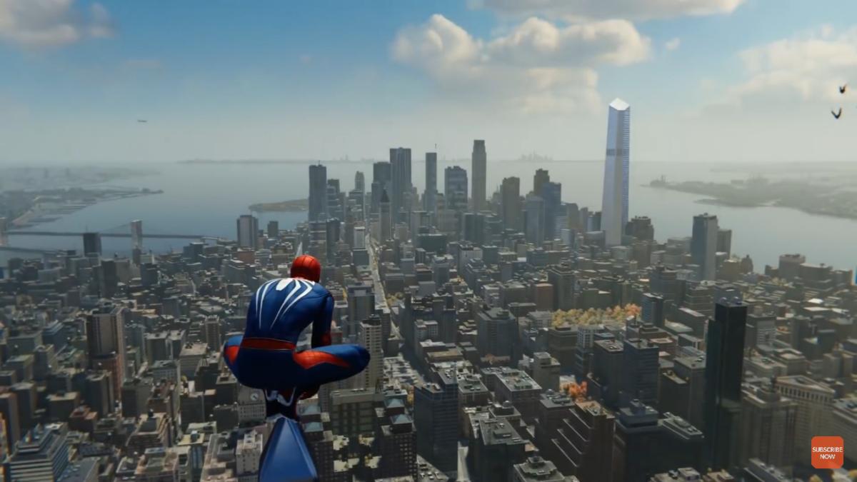 Spiderman overlooking Manhattan