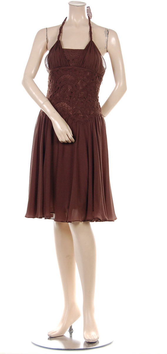 BCBG crochet dress in mahogany