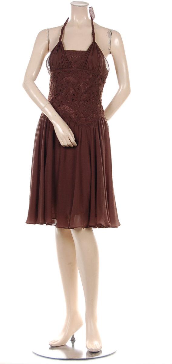 BCBG crochet dress in mahogany