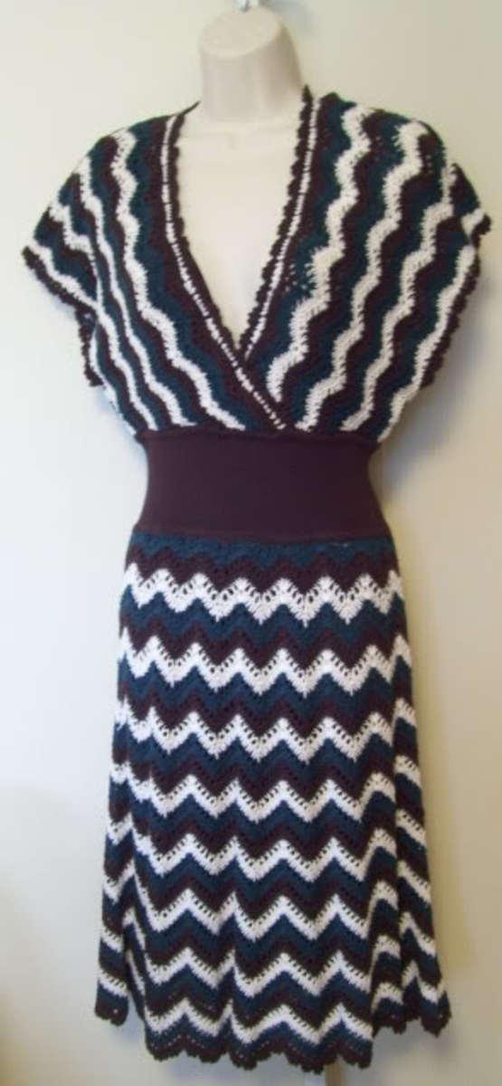 BCBG woven crochet zigzag dress