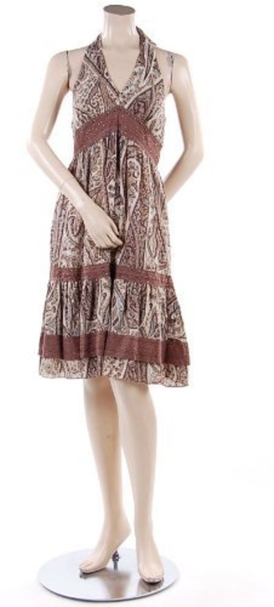 BCBG Vellum Paisley Crochet Halter Dress