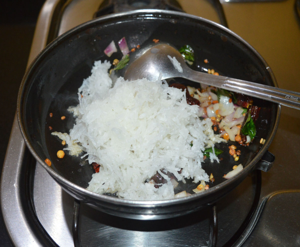 Add grated radish. Saute the mixture for two more minutes or until the radish is semi-cooked.