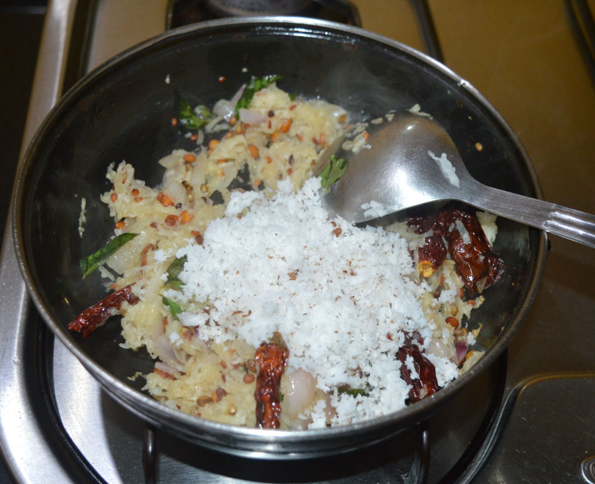 Add grated coconut and mix well.