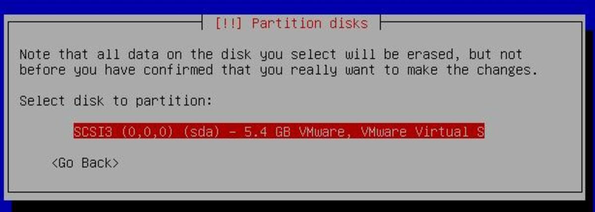 Here I select my disk I wish to install ubuntu onto.