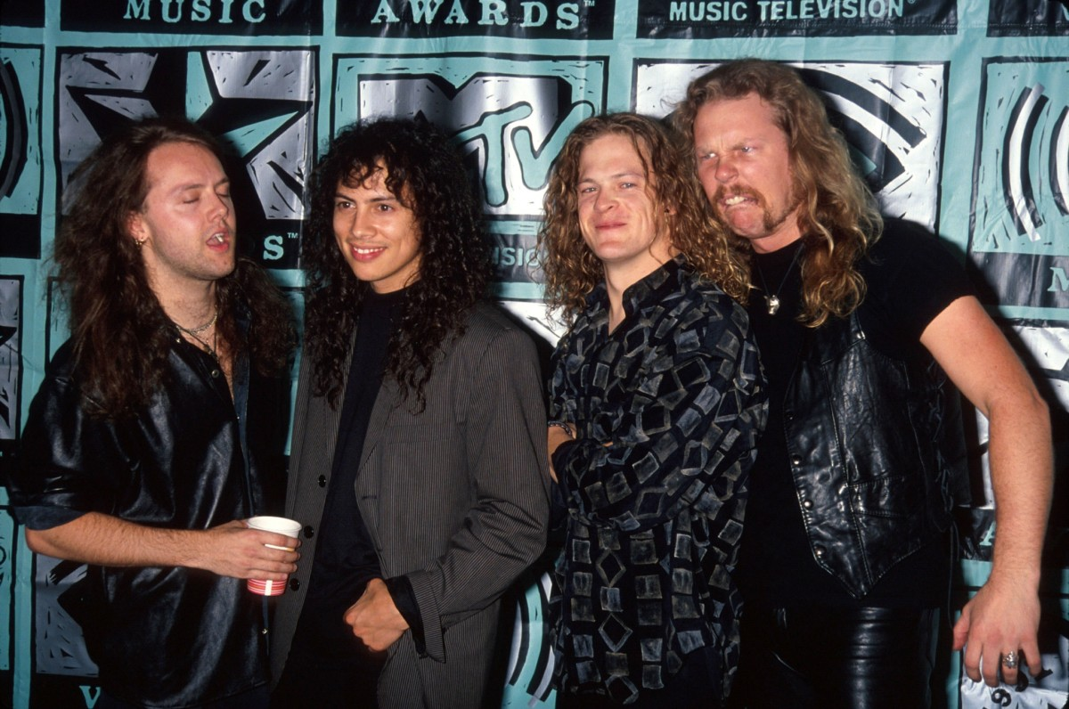 From left to right: Lars Ulrich, Kirk Hammett, Jason Newsted, and James Hetfield.