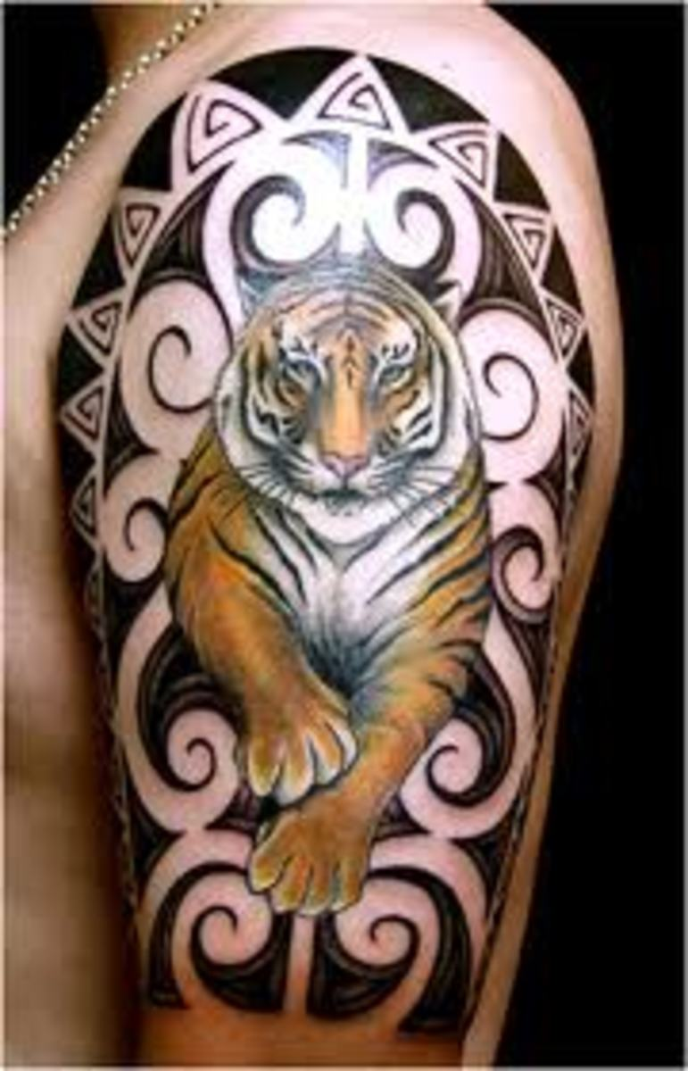 This prowling tiger tattoo is remarkable.