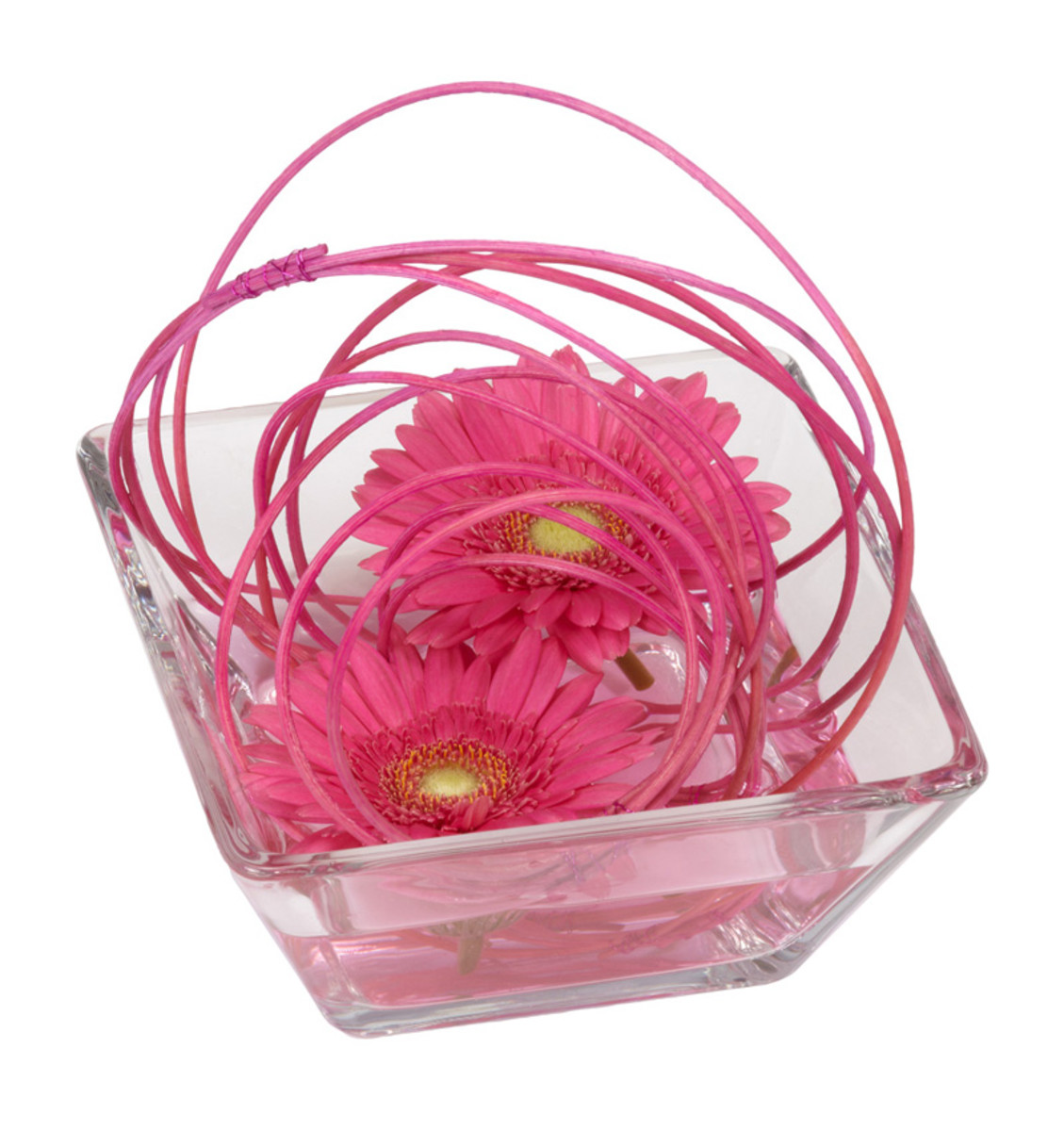 Gebera daisies are bright and modern, ideal for a Valentine's decoration. In this design they are placed in a shallow glass dish with middolino sticks, bound together with pink wire.