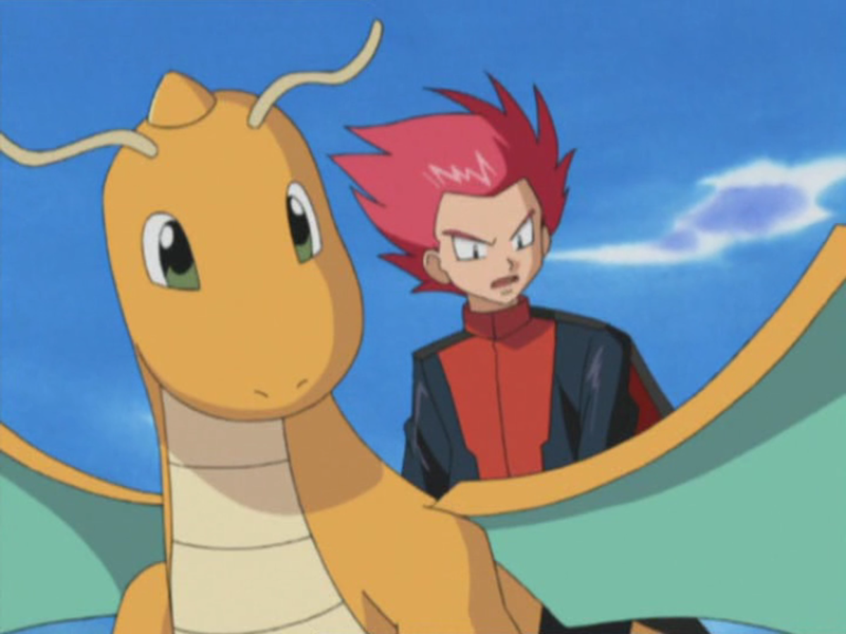 Dragonite with its trainer Lance