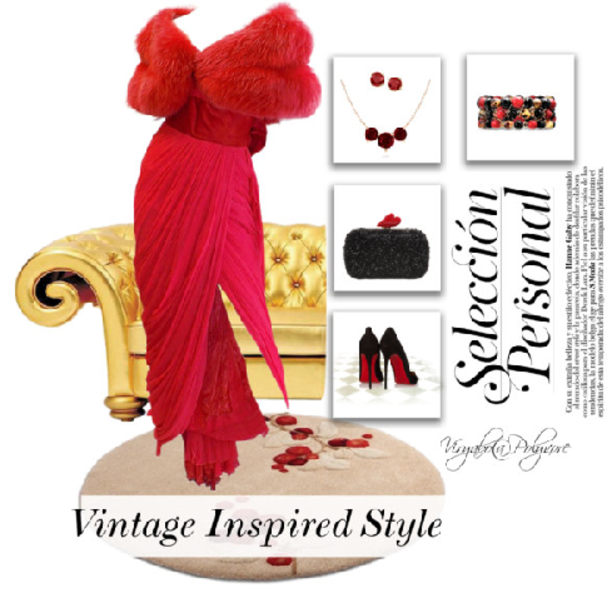 Chic Old Hollywood dress with faux fur details an the characteristic red color. Fashion accessories include stiletto heels, clutch handbag, and costume jewelry. A Vintage Inspired Style