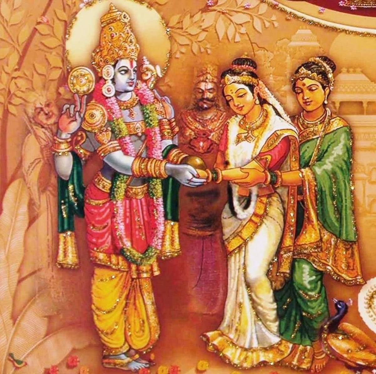 Artists depiction of Vishnu marrying Padmavati