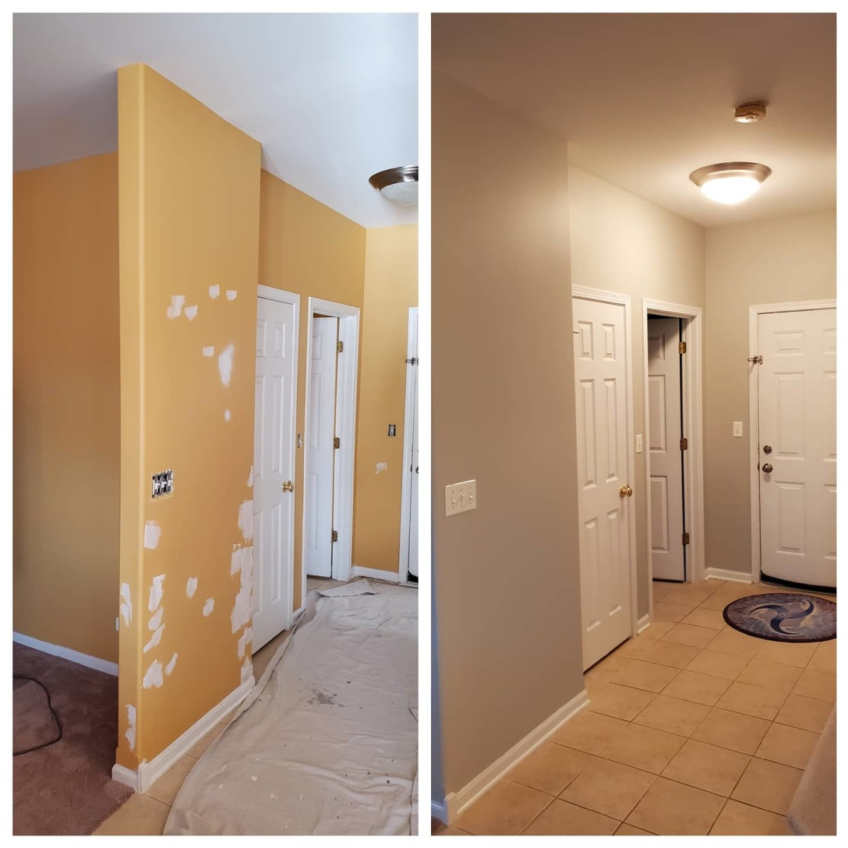 A hallway I prepped and painted.