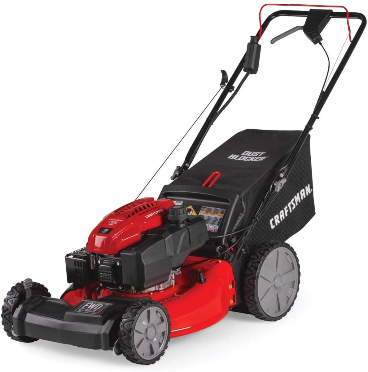 The Craftsman M275 159cc 21-Inch 3-in-1 High-Wheeled Self-Propelled FWD Gas Powered Mower.