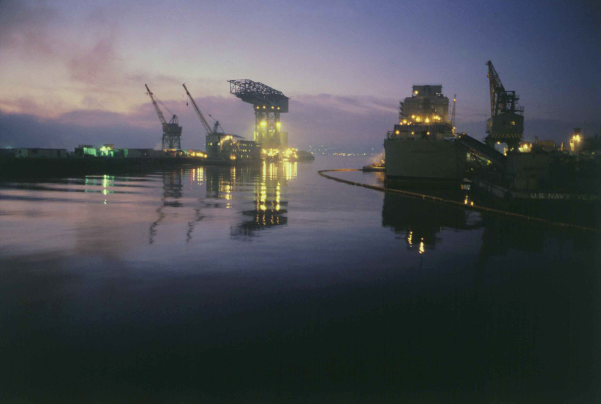 US Navy Shipyard, Puget Sound: Hammerhead Crane at night.