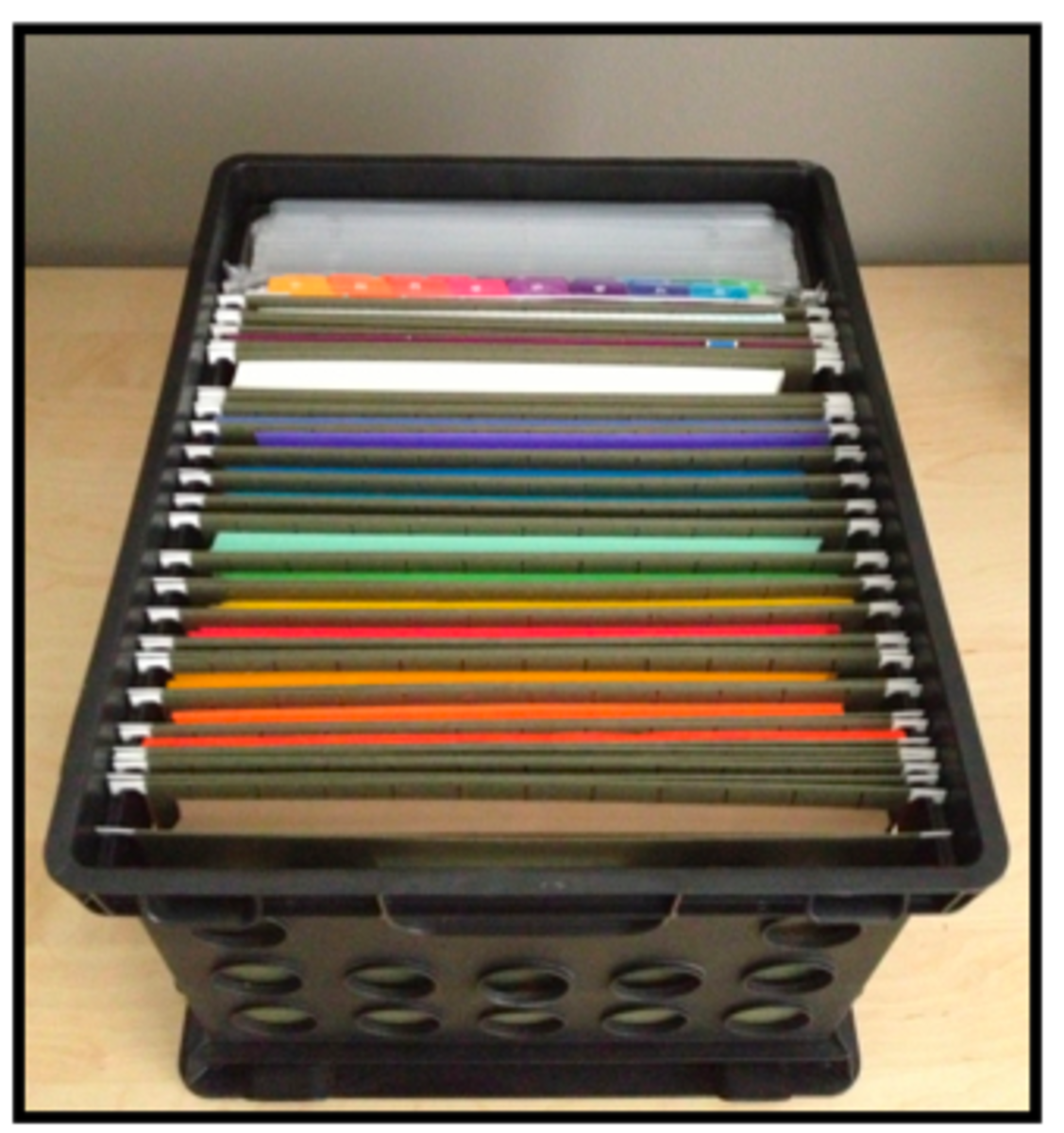All you need is a bin that will hold file folders, some labels and the file folders.