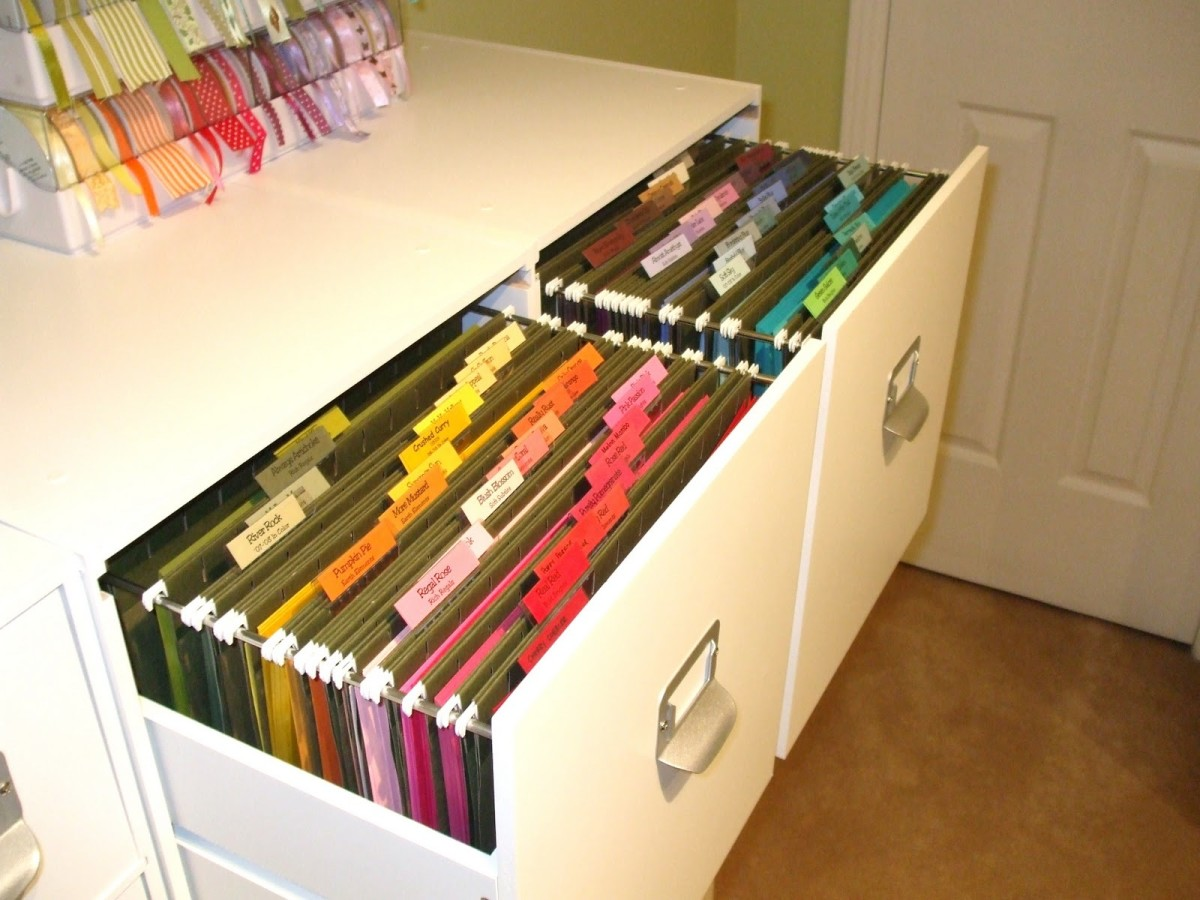 """These cabinets are made to hold 12"""" by 12"""" cardstock. How neat is that idea?"""