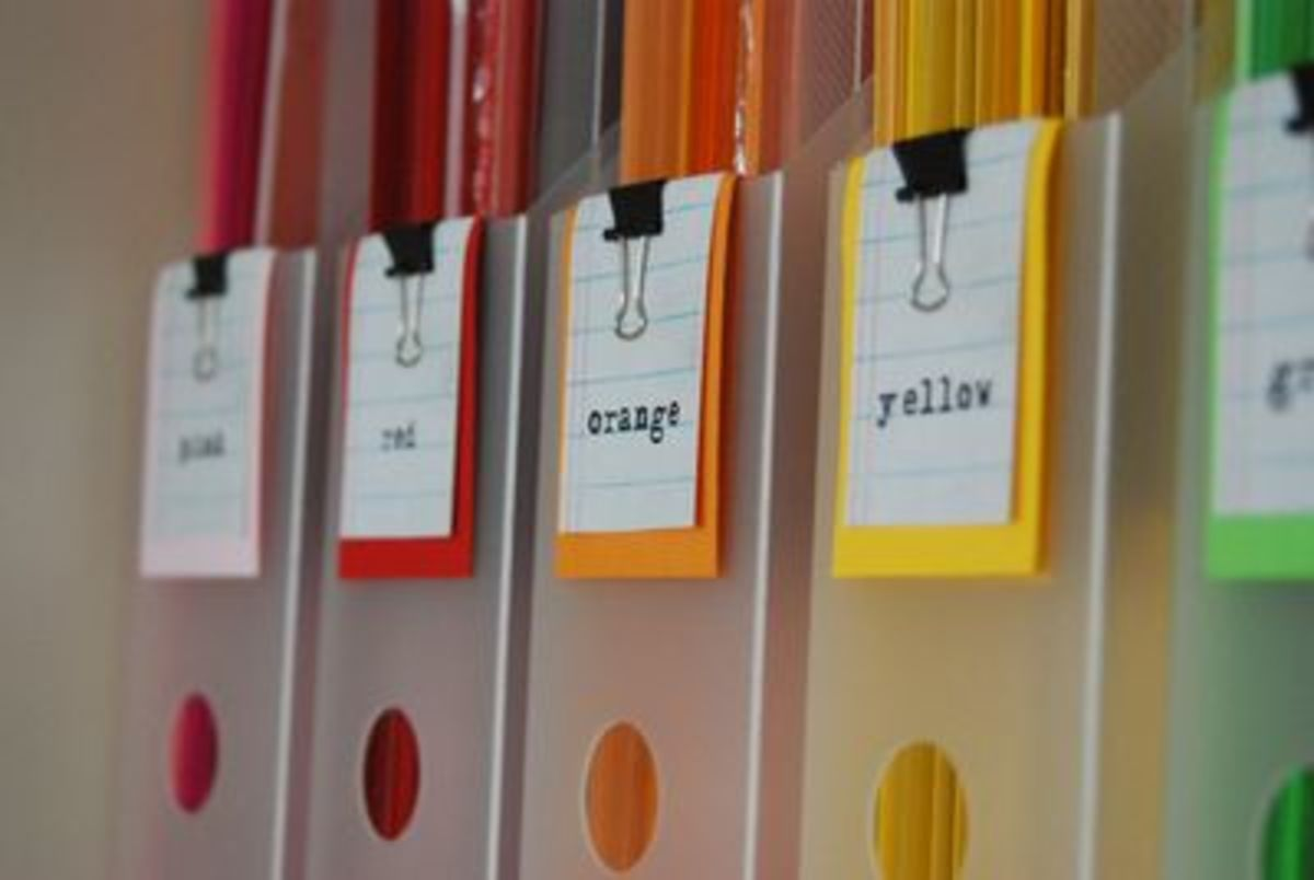 Whatever system you use, you need to create labels that will help you fins what you need. Some folks like to use printed labels, Others like to use examples of the paper, This idea uses a combination of both