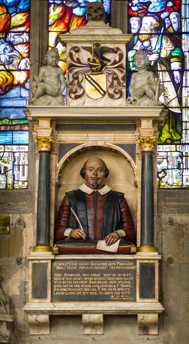 William Shakespeare's Funerary Monument in Holy Trinity Church, Stratford-Upon-Avon. This demi-figure is one of only two representations definitely accepted as accurately portraying William Shakespeare's physical appearance.