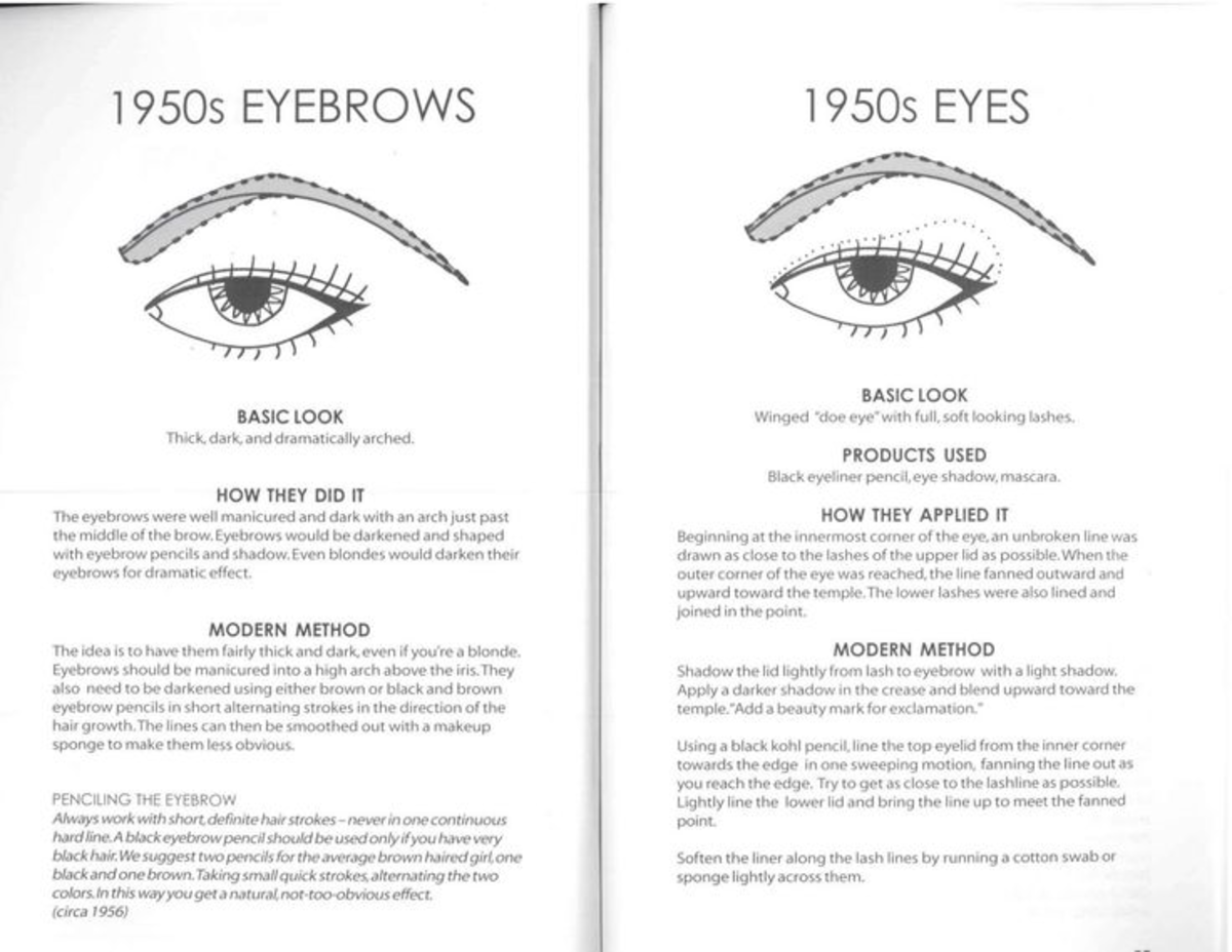 1950s brow and eye trends
