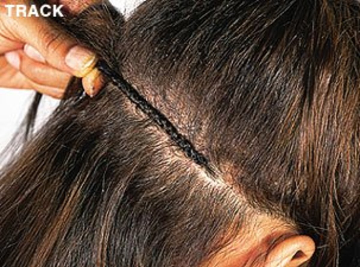 A braided track used to mount extensions onto.
