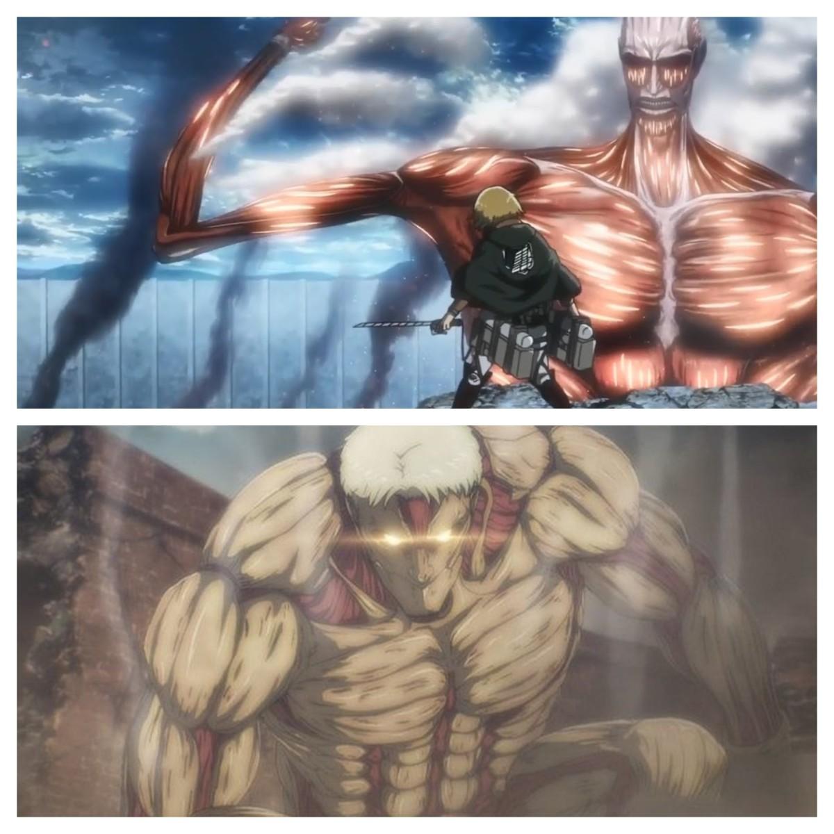 Season 3 Colossal Titan vs Season 4 Armored Titan