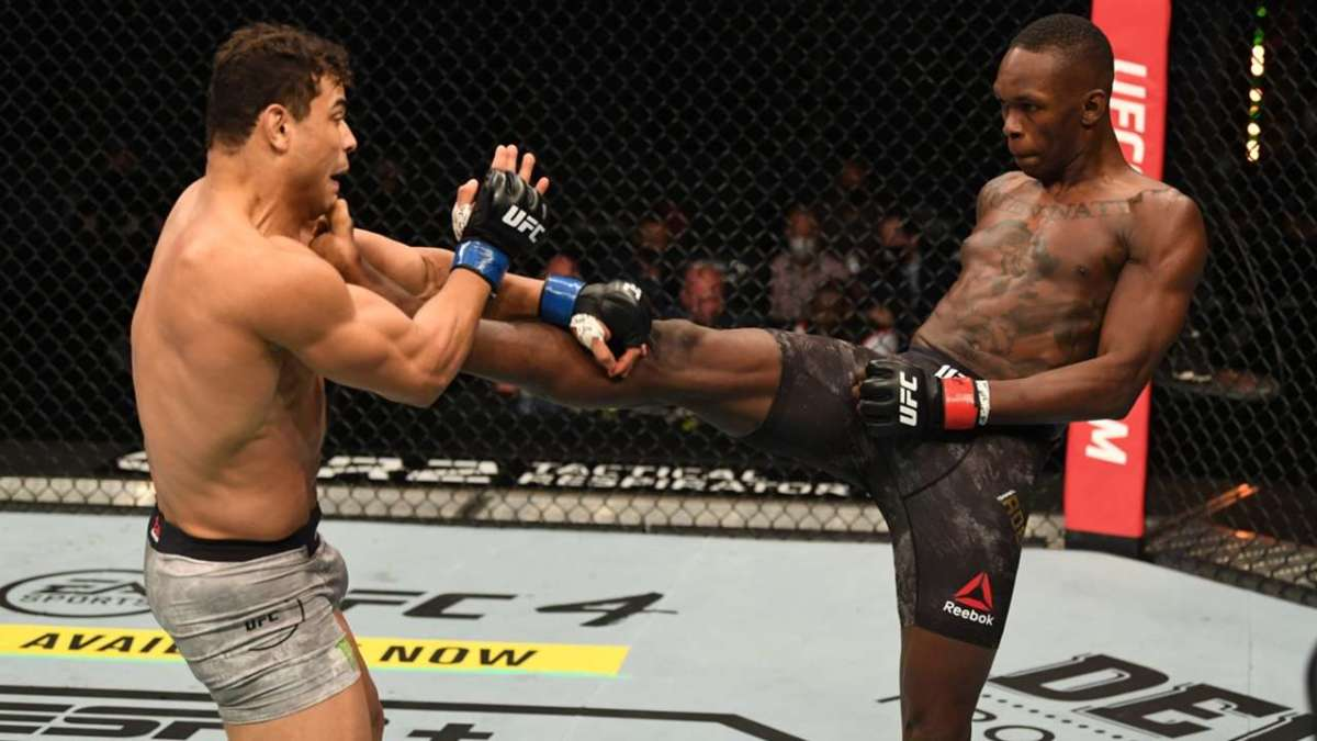 Israel Adesanya has a longer leg reach than even most heavyweight fighters in the UFC despite being a middleweight.