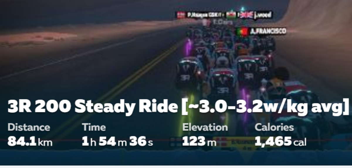 You can easily spot the Tron- Z1 Concept Bikes within the Peloton on Zwift