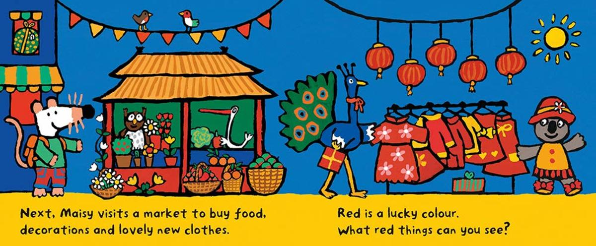 A 2-page spread from Maisy's Chinese New Year by Lucy Cousins.