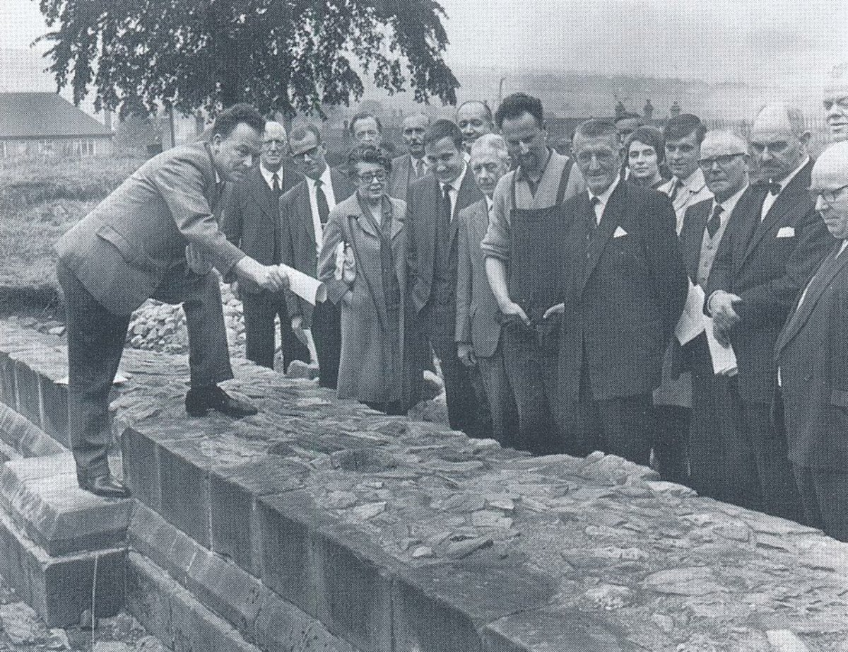 Touring the site of Hulton Abbey back in 1966, Stoke-on-Trent City Council Excavation Committee study the remains of the medieval church walls that can still be seen today