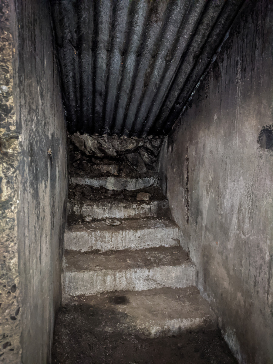 Steps at the entrance to the shelter, now blocked off