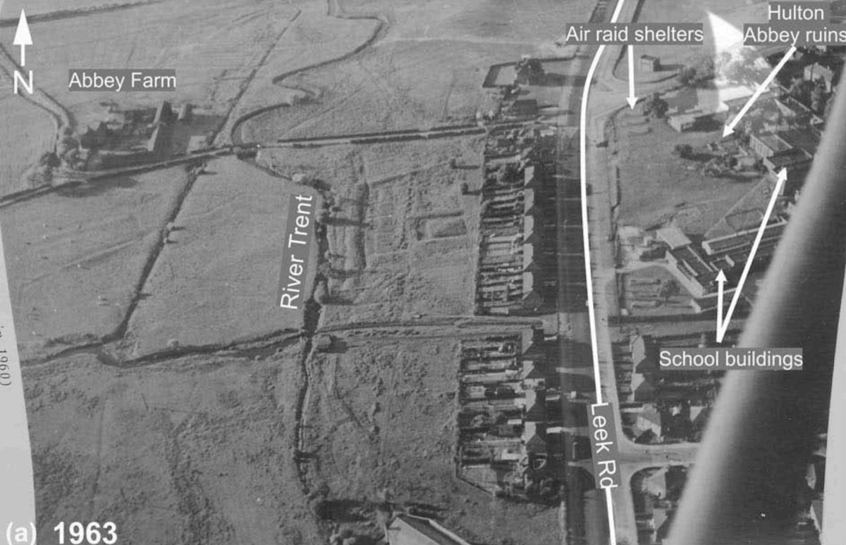 The air raid shelters on an aerial photograph taken in 1963