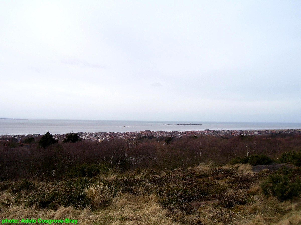 View from Caldy Hill - overlooking West Kirby and the Dee Estuary where Little Eye, Middle Eye and Hilbre Island are cut off from the Wirral mainland by swift tides.