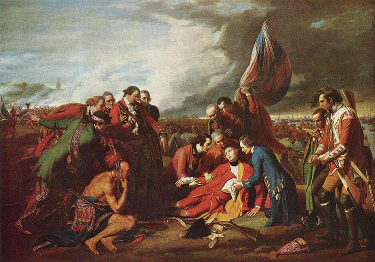 """The Death of General Wolfe"" by Benjamin West (Public Domain image, courtesy of WikiPedia.org  http://en.wikipedia.org/wiki/File:Benjamin_West_005.jpg)"