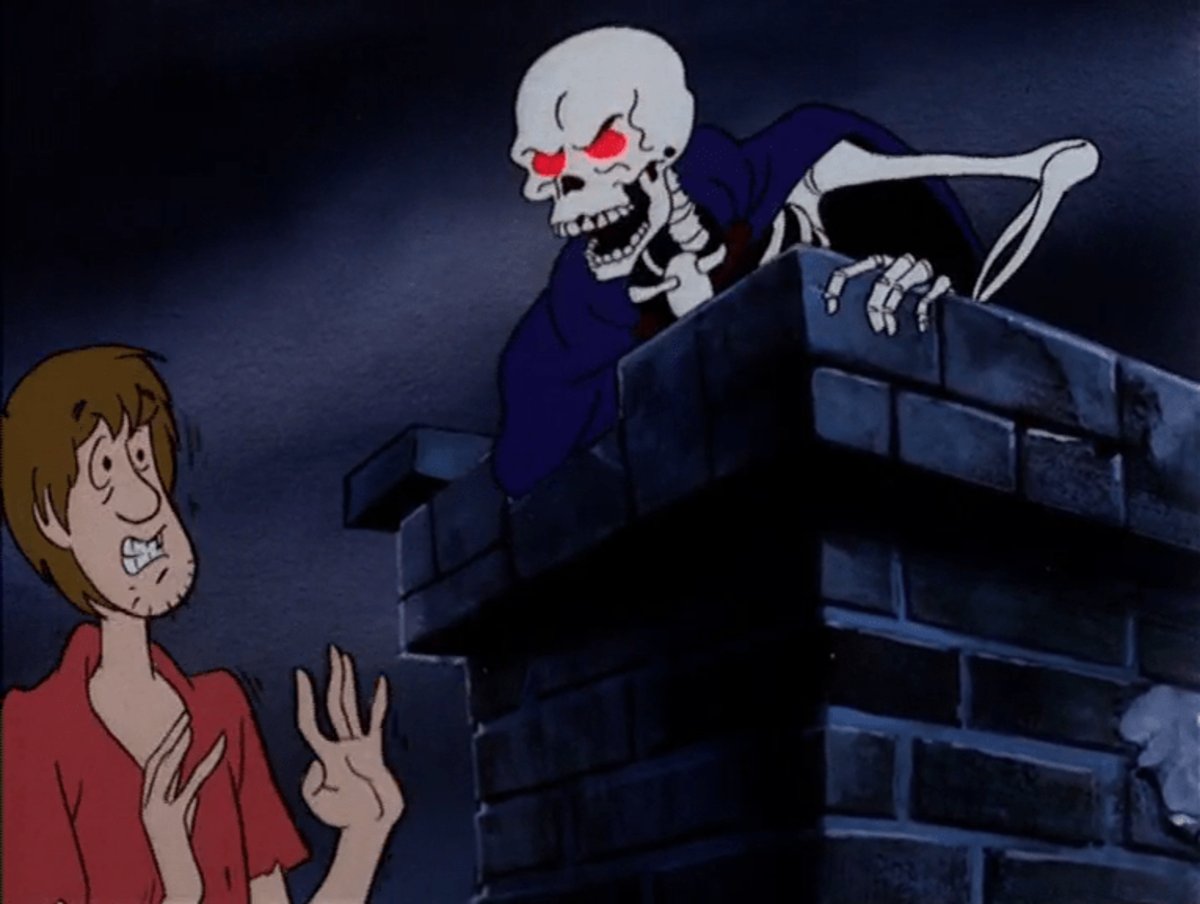 Shaggy encountering the Skeleton Ghost
