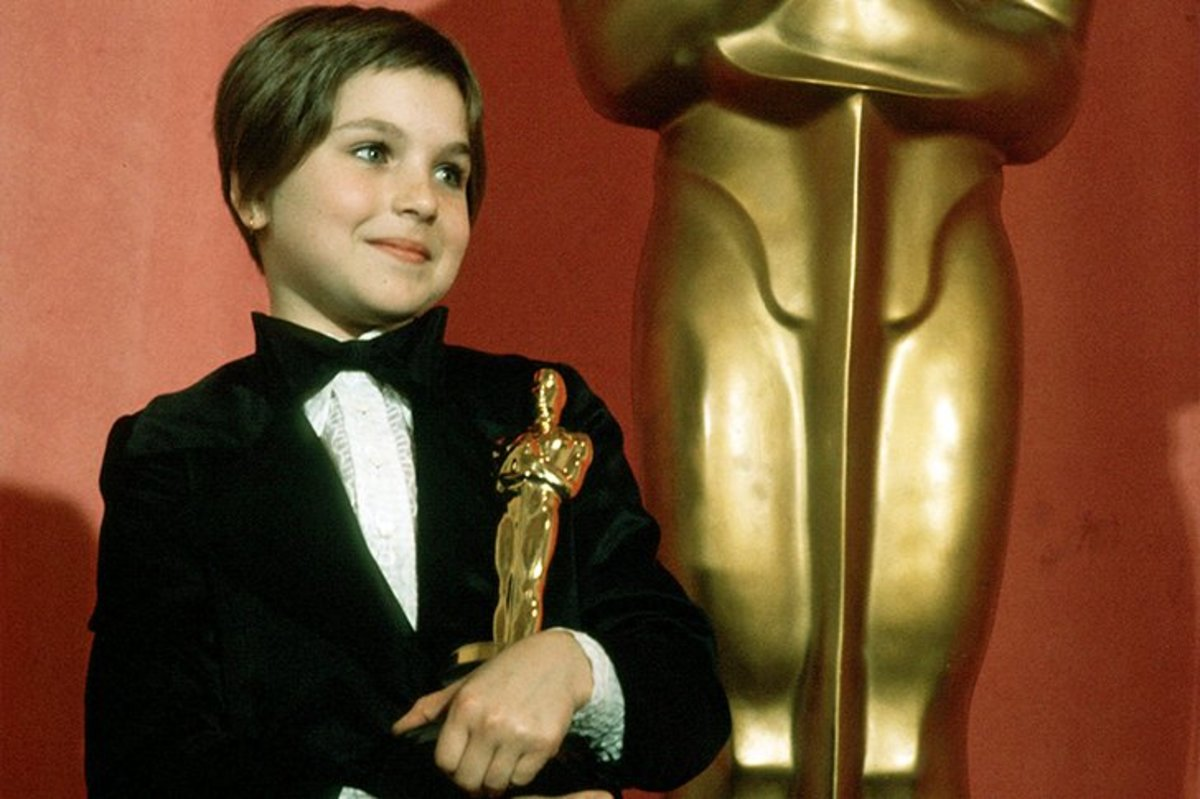 Tatum O'Neal, aged 10, the youngest Oscar winner ever in 1973.
