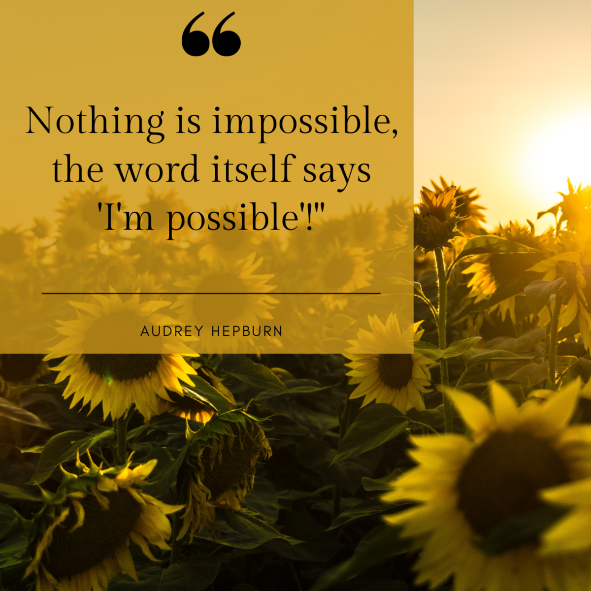 Believe in your own possibilities!