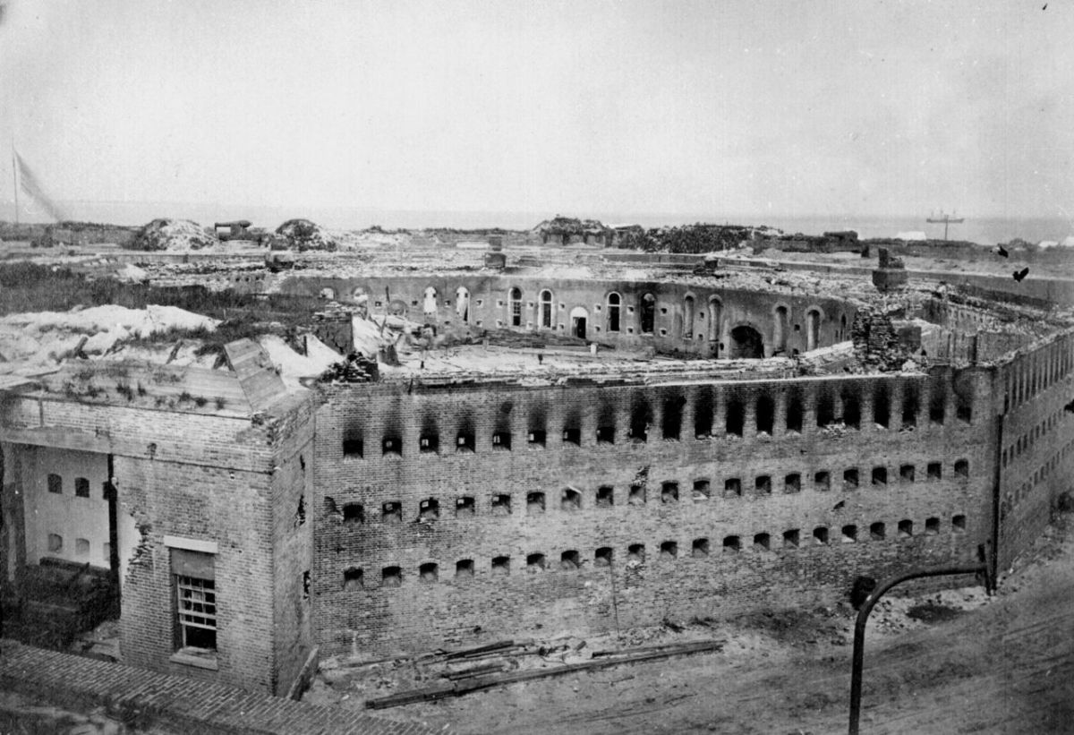 The citadel at Fort Morgan as it appeared after its surrender to Union troops following the Battle of Mobile Bay.