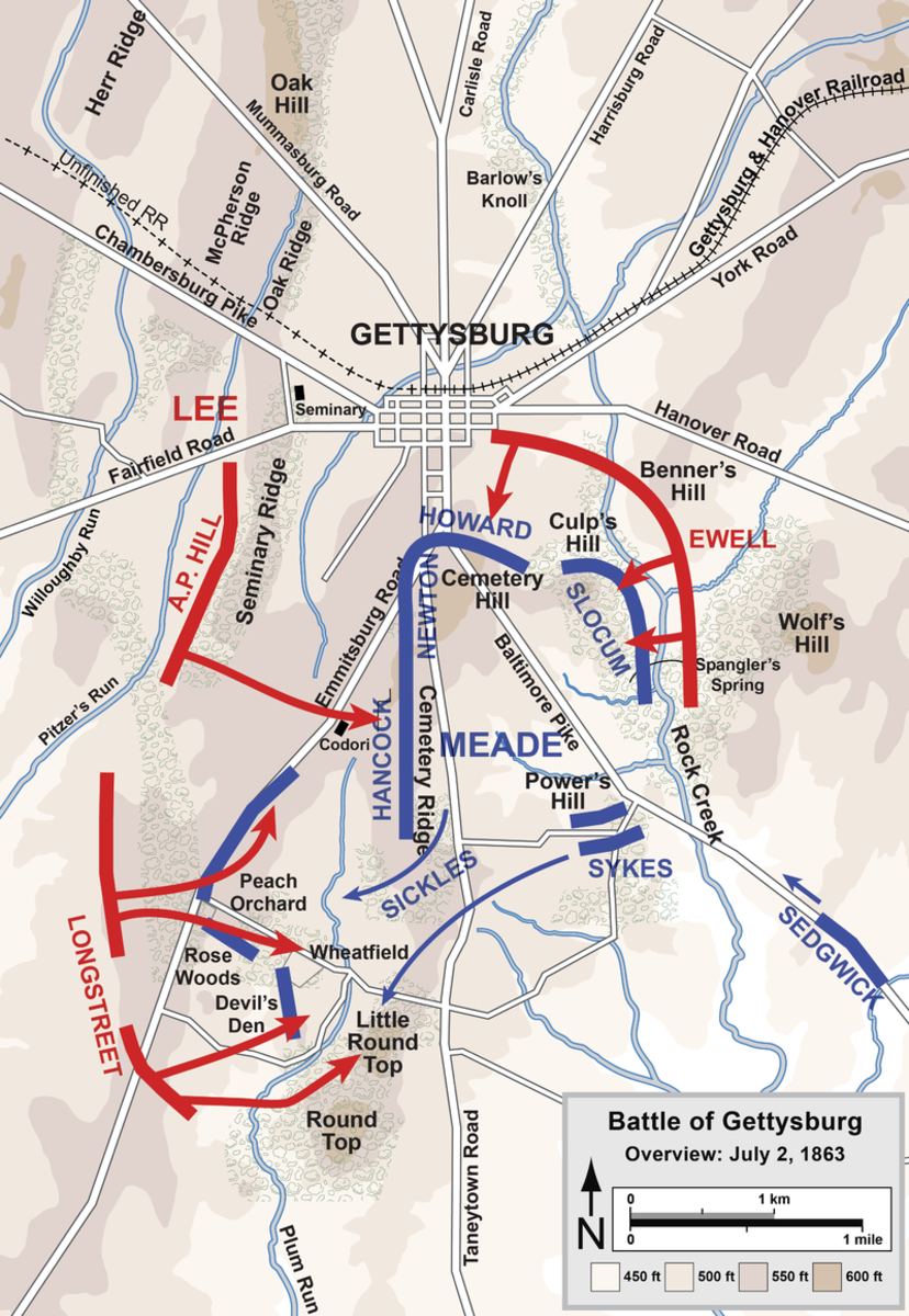 Union and Confederate positions July 2,1863.