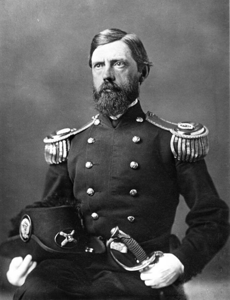 Union Major General John F. Reynolds killed by a Confederate sniper on the first day of battle at Gettysburg as he rallied his troops.