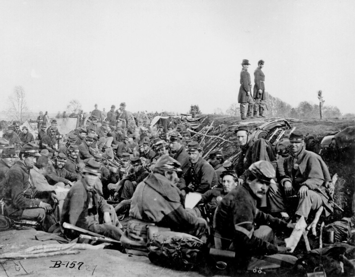 Fredericksburg, Virginia; May 1863. Soldiers in the trenches. Trench warfare would appear again in the First World War.