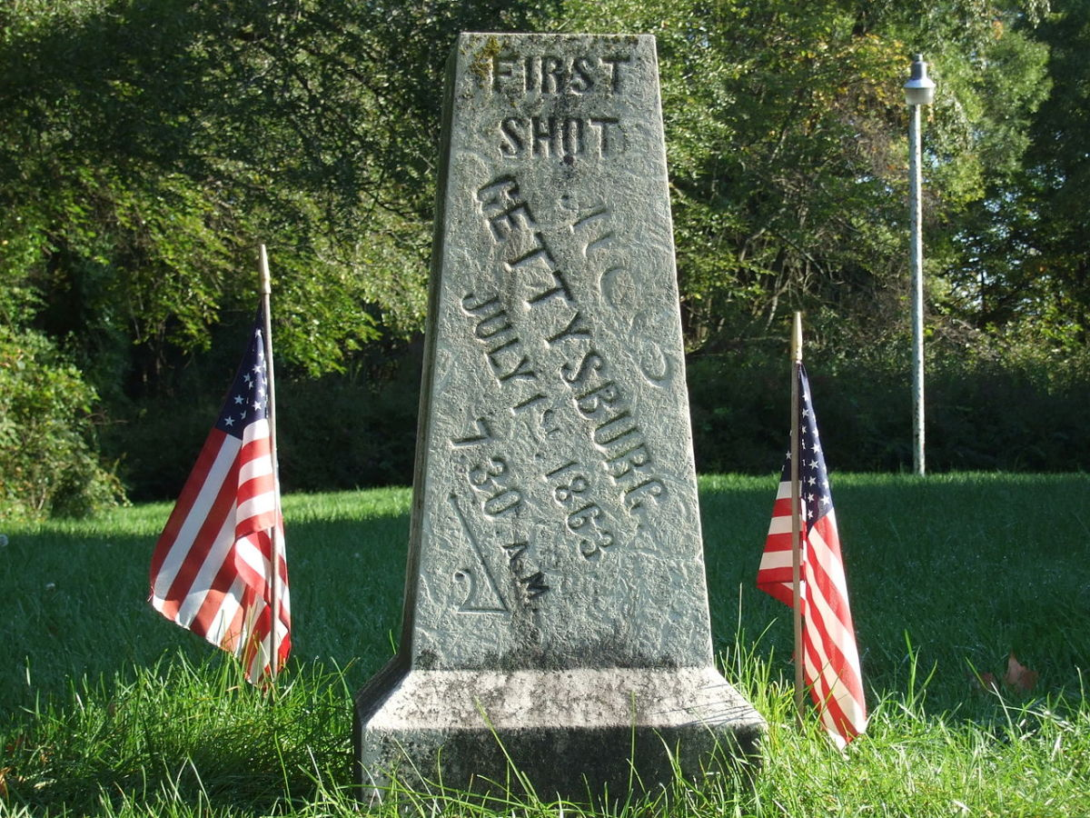 The first short marker at the Gettysburg battlefield national park.
