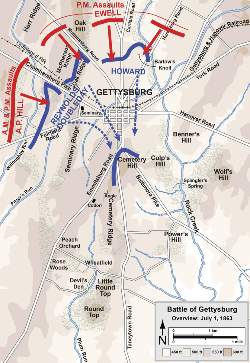 The first day battle map of Gettysburg. Confederate forces overwhelm the Union right flank forcing them to retreat south of Gettysburg with very heavy casualties. Over 4,000 Union troops were captured by Lee's soldiers.
