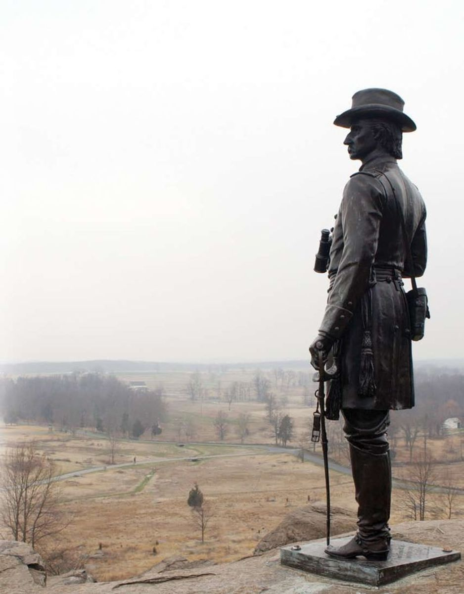 Monument of General Warren overlooking the battlefield from Little Round Top though this photograph was taken in the winter.