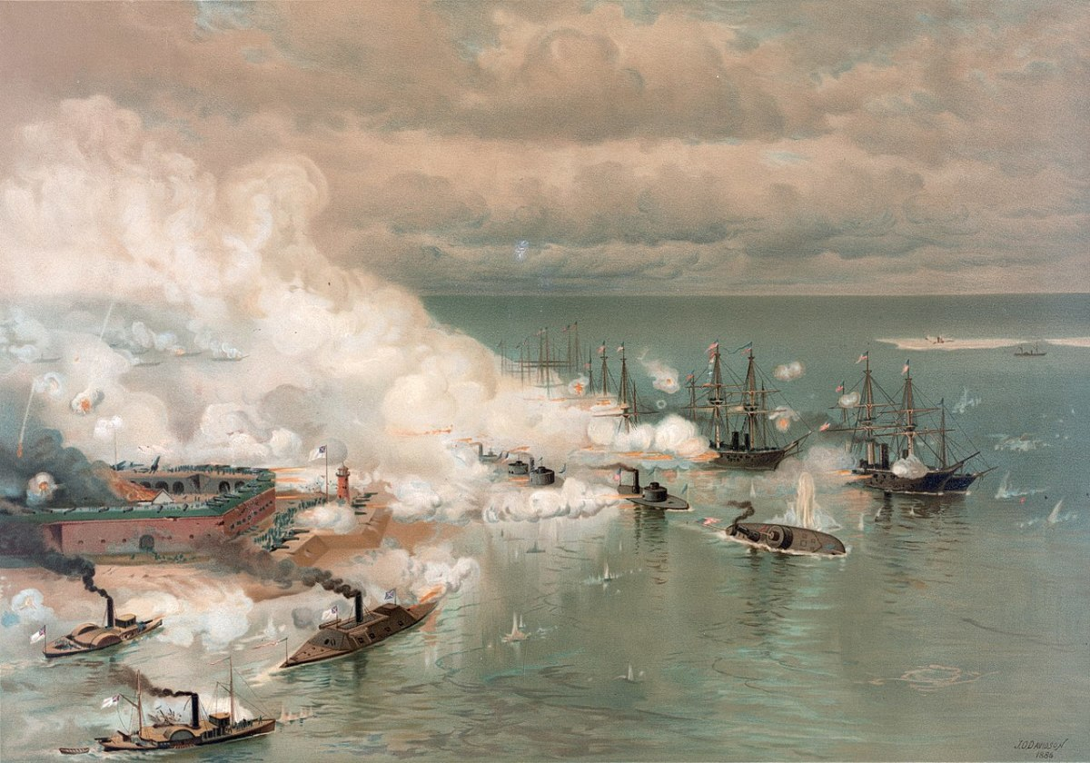 August 2, 1864 – August 23, 1864 The Battle for Mobile Bay left the Confederacy without a port in the Gulf of Mexico. The Confederate ironclad Tennessee took on the entire Union fleet soon it was left a burning hulk August 5,1864.