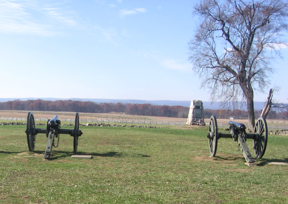Cannons representing Hancock's defenses, stormed by Pickett's division on Cemetery Ridge.